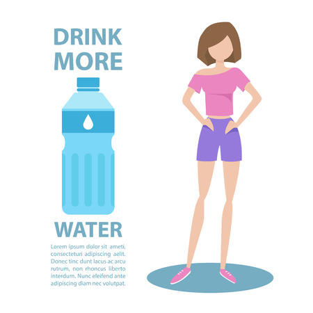 sportswear: Sporty young woman in sportswear with inscription Drink more water. Healthy lifestyle concept. Motivation poster template. Bottle of water. Flat style vector illustration.