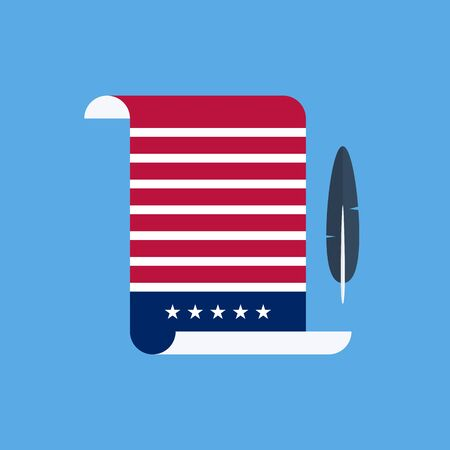 declaration of independence: United States Declaration of Independence flat style design vector illustration.
