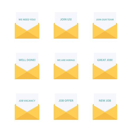 Business email. Business letters collection. Business message. We are hiring, join us, we need you, job offer and job vacancy. Vector Illustration.