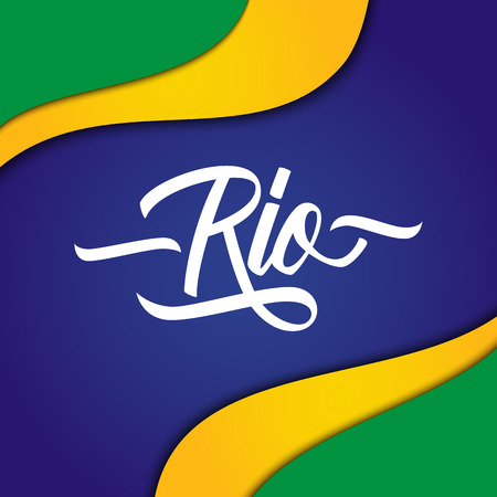 Handwritten inscription Rio on background in Brazilian flag colors. Hand drawn element for your design. Vector illustration. Illustration