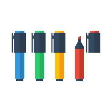 fineliner: Collection of color marker pens. Flat style vector illustration.