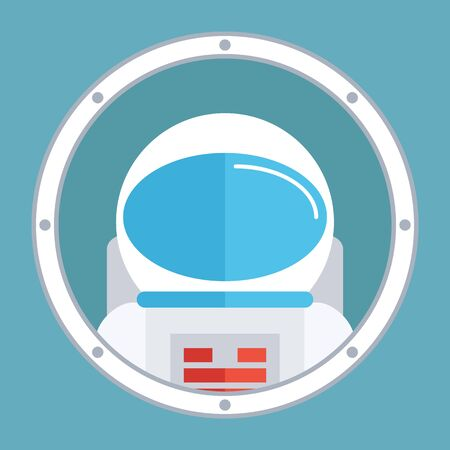 spaceman: Astronaut in porthole. Spaceman icon. Flat style design vector illustration.