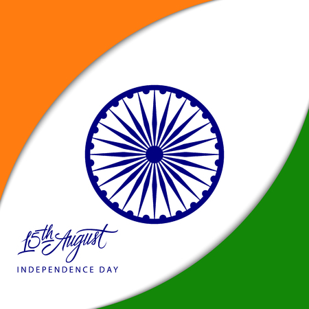 bharat: Indian Independence Day concept with Ashoka wheel and 15th August handwritten inscription. Vector Illustration.