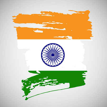 hindustan: Brush stroke background in indian flag colors for your design. Vector illustration.