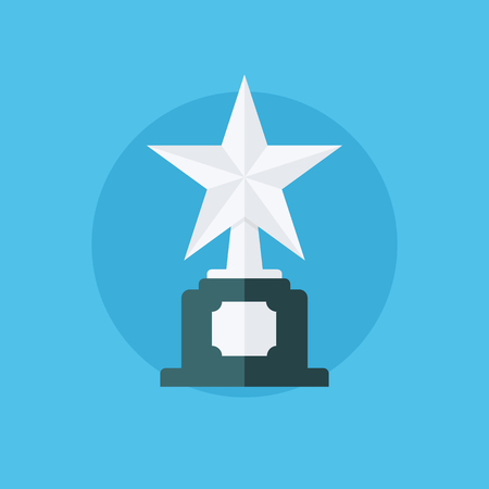 star award: Silver star award. Winner concept with trophy icon. Silver star award icon. Flat vector illustration. Illustration