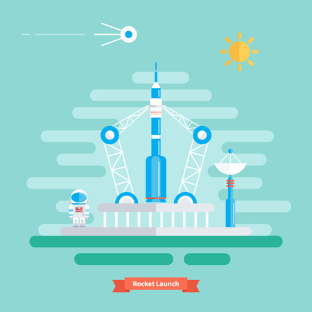 satellite launch: Rocket launch. Landscape with rocket, spaceman and satellite. Sunny day. Flat design vector illustration. Illustration