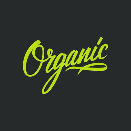 Handwritten word Organic. Hand drawn lettering. Vector illustration.