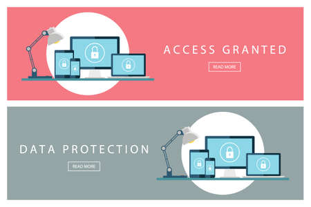 access granted: Set of flat design concepts Access granted and Data protection. Banners for web design, marketing and promotion. Presentation templates. Vector illustration.
