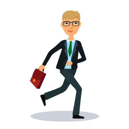 broker: Running businessman. Businessman hurry to work. Business man character. Broker, manager or dealer. Flat vector illustration.