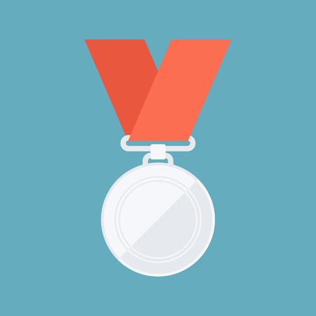second place: Silver medal. Winner reward. Second place. Flat design vector illustration. Illustration