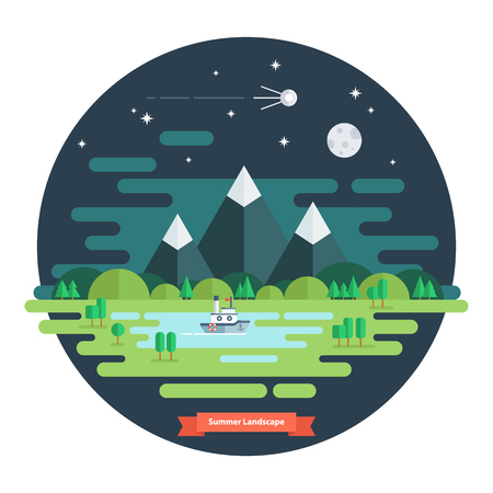 clouds scape: Summer landscape. Nature landscape with moon, stars, mountains and clouds. Summer night. Flat design vector illustration.