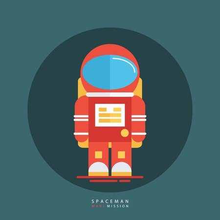 spacesuit: Spaceman in red spacesuit and helmet. Astronaut icon. Flat style design vector illustration.