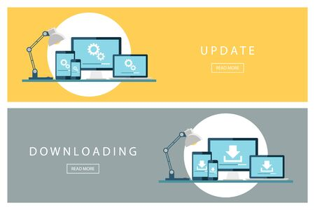 updating: Set of flat design concepts Update and Downloading technology. Install new software, operating system. Banners for web design, marketing and promotion. Presentation templates. Vector illustration. Illustration