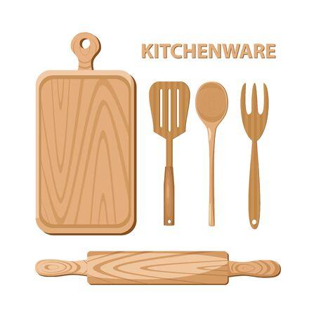 utensili da cucina in legno. Utensili da cucina. illustrazione.