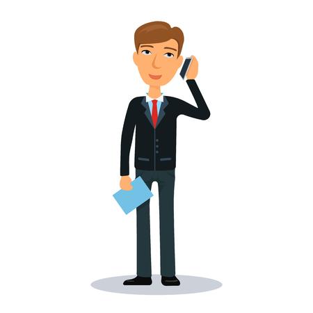 broker: Businessman talking on a cell phone. Business man character. Broker, manager or dealer. Flat vector illustration.