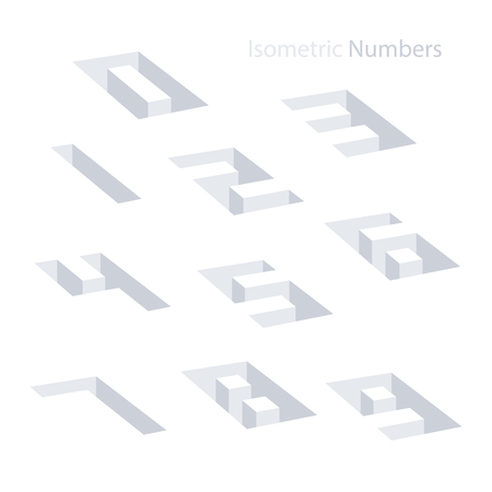 web 2 0: Collection of the isometric numbers. Effect Hole. Three-Dimensional elements. Vector illustration. Illustration