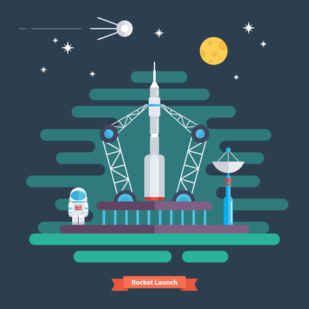 satellite launch: Rocket launch. Space landscape with rocket, spaceman, satellite, moon and stars. Flat design vector illustration.