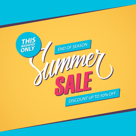 end of summer: Summer Sale. This weekend special offer banner, discount up to 50% off. End of season. Vector illustration.