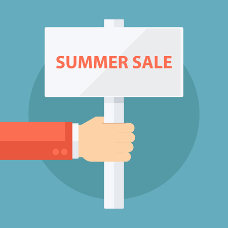 signboard design: Male hand holding Summer Sale signboard. Flat design vector illustration. Illustration