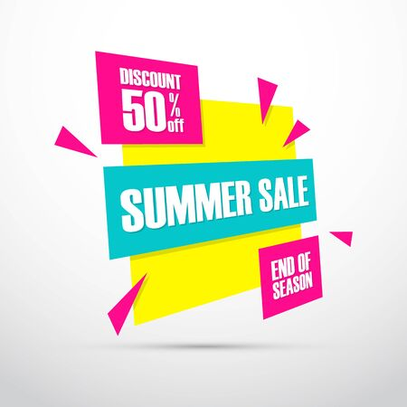 end of summer: Summer Sale. This weekend special offer banner, discount 50% off. End of season. Vector illustration. Illustration