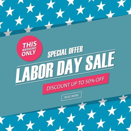 Sprzedaż dni roboczych. W ten weekend promocyjny sztandar oferty, rabat do 50%. Ilustracji wektorowych.