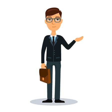 broker: Businessman with briefcase. Business man character. Broker, manager or dealer. Flat vector illustration. Illustration