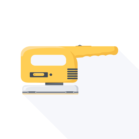 sander: Electric sander flat icon with long shadow. Vector illustration.