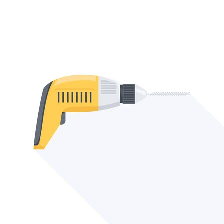 implement: Electric hand drill flat icon with long shadow. Vector illustration. Illustration