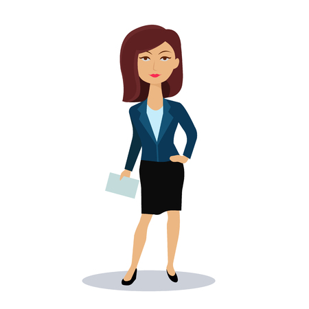 Businesswoman. Business woman character. Broker, manager or dealer. Flat vector illustration.