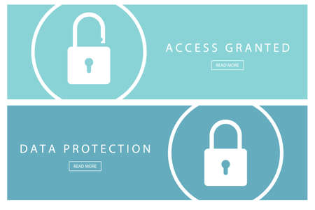granted: Set of flat design concepts Data protection and Access granted. Banners for web design, marketing and promotion. Presentation templates. Vector illustration.