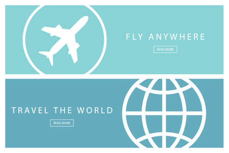 anywhere: Set of flat design travel concepts. Travel the world and Fly anywhere. Presentation templates. Vector illustration. Illustration