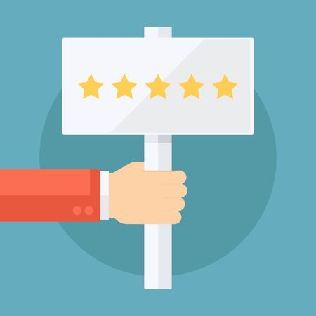 rating: Male hand holding five star rating sign. Flat design vector illustration.