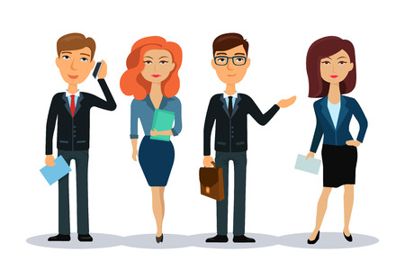 office wear: Business people characters. Business team. Group of office workers. Men and women in office wear. Broker, manager or dealer. Flat vector illustration.