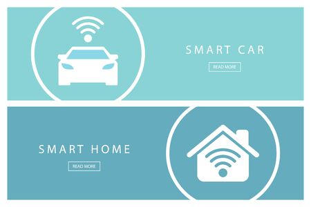 smart: Set of flat design concepts Smart car and Smart home. Internet of things. Illustration
