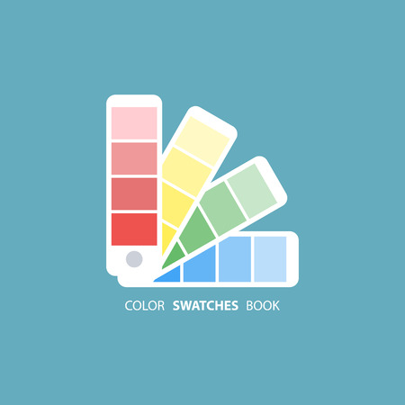 Color swatches book. Color palette guide. Color swatch icon. Color swatches flat sign. illustration.