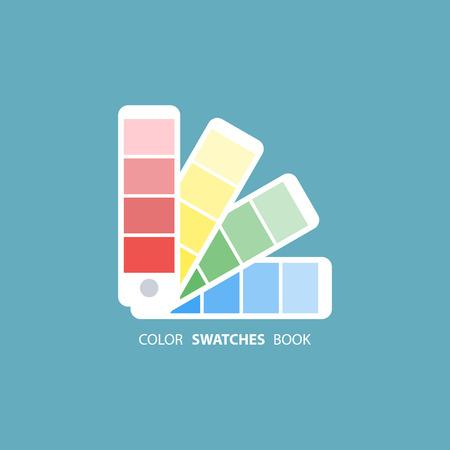 color swatch book: Color swatches book. Color palette guide. Color swatch icon. Color swatches flat sign. illustration. Illustration