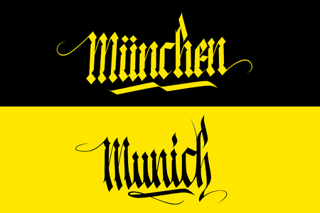 Munich and Munchen inscription. lettering in national german style. Calligraphic element for your design. illustration.