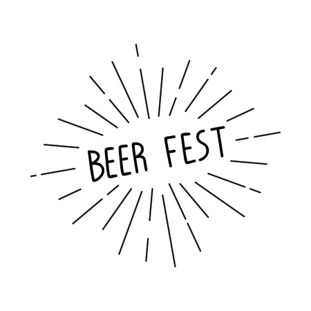 beer fest: inscription Beer Fest with sunburst. lettering for your design. illustration.