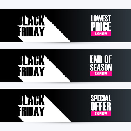 end of a long day: Set of Black Friday with long shadow for business, promotion and advertising. Lowest price, end of season, special offer. illustration. Illustration