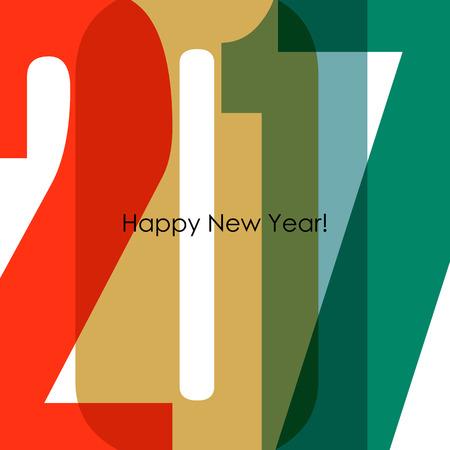 0 1 year: Happy New Year 2017 Card. Colorful design. illustration. Illustration