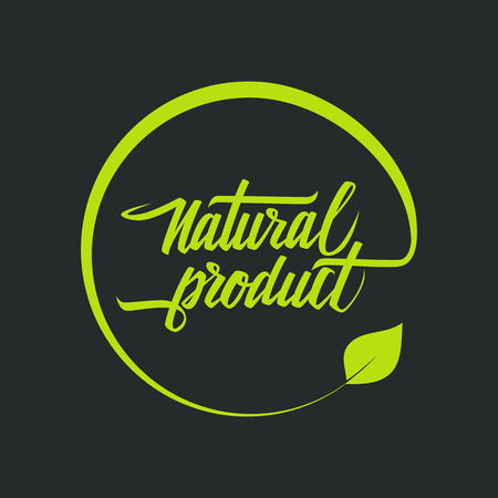 Natural product icon. Green handwritten ecology symbol with leaf.