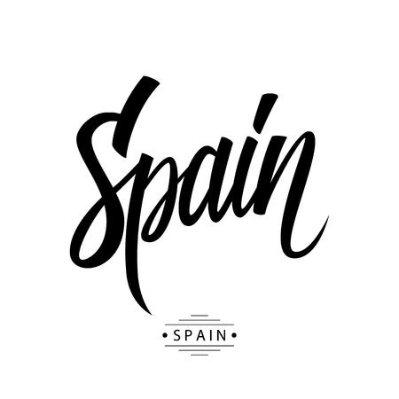 kingdom of spain: Handwritten inscription Spain. Hand drawn lettering. Calligraphic element for your design. Illustration