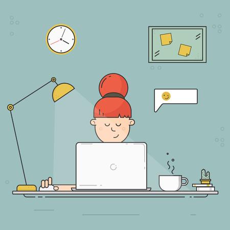 Girl sitting with laptop in social networks. Flat design illustration. Vettoriali