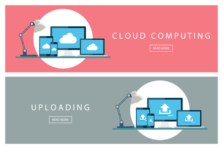 uploading: Set of flat design concepts Cloud computing and Uploading technology. Banners for web design, marketing and promotion. Presentation templates.