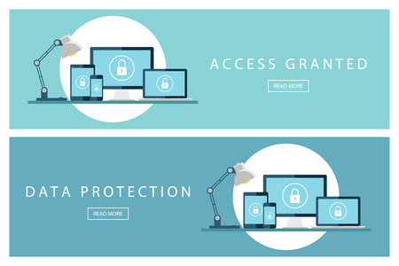 granted: Set of flat design concepts Access granted and Data protection. Banners for web design, marketing and promotion. Presentation templates.