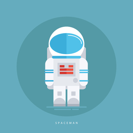 spacesuit: Spaceman in spacesuit and helmet isolated on blue background. Astronaut icon. Flat style design