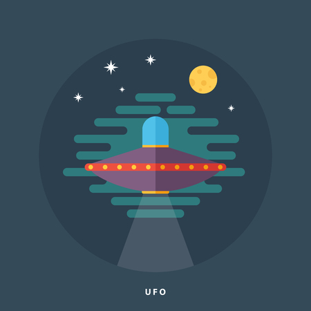 unidentified flying object: Ufo spaceship flat icon. Unidentified flying object. Space fantastic illustration. Illustration