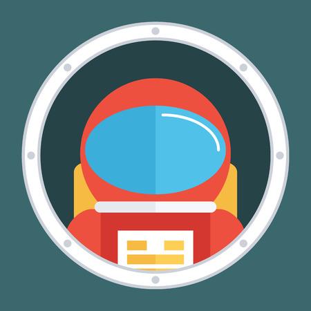 porthole: Astronaut in porthole. Spaceman icon. Flat style design illustration. Illustration