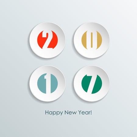 Happy new year 2017 greeting card. Illustration