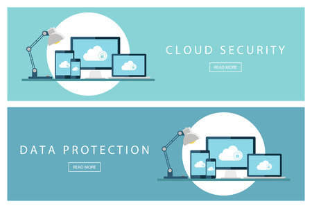 cloud security: Set of flat design illustration concepts Cloud security and Data protection. for web design, marketing and promotion. Presentation templates. illustration. Illustration